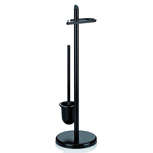 Kela 20542 WC-Bürstentopf und Papierhalterung, Toilettengarnitur, Metall, Ken, 73 cm Höhe, Schwarz