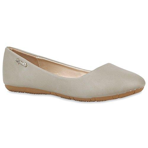 Klassische Damen Ballerinas | Flats Leder-Optik Lack | Metallic Schuhe Glitzer Schleifen | Ballerina Schuhe Übergrößen Grau