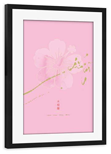 artboxONE Poster mit Rahmen schwarz 75x50 cm Hibiscus Flower von Thoth Adan - gerahmtes Poster China Blush