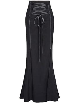 Belle Poque Falda de Sirena Gótica Steampunk de Mujer Elástica con Dobladillo Dividido de S-XXL GF447