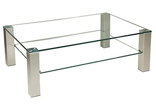 Brisbane205 Exklusiver Couchtisch mit einer 12mm starken Glasplatte. Stollen in 80x80mm Edelstahl gebürstet und versiegelt mit komfortablen Rollen. Klarglas Größe: 120 x 80 cm Rechteckig