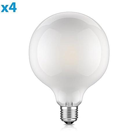 ledscom E27 LED Globe Birne Filament matt G125 (12,5cm Kopfdurchmesser) 8W =64W warmweiß (2700K) 850lm A++ für innen und außen, 4 Stk.