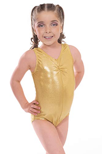Dance Kostüm Gear - Vincenza Dancewear Shiny Gold Metallic Sleeveless Dance Rhythmic Gymnastics Leotard (11-12 Years, Gold)