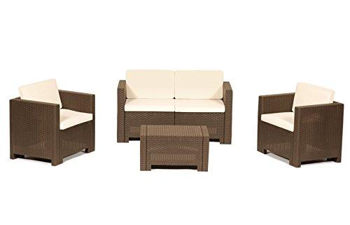 Grecoshop divano con poltrone e tavolino/salotto/salottino in polyrattan per esterno/arredo giardino - mod. dubai choco/brown/marrone