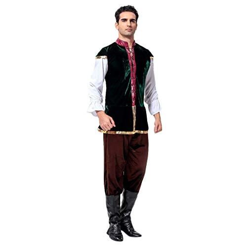 UFODB Oktoberfest Herren Set Handsome Männer Vintage Beer Waitress Mode Stickerei Bierfest Kellner Bayerische Bier Guy Bar Kostüm Bavarian Hosen Cosplay Costum Suit (Top Guy Kostüm)