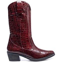 Vegas Botas Cowboy de Mujer con Grabado Coco Burdeos