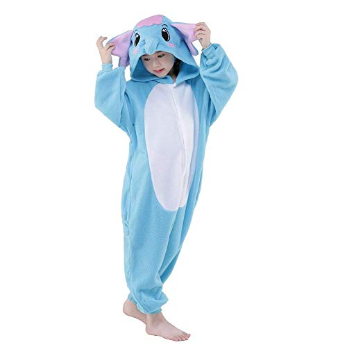 JT-Amigo Kinder Pyjama Strampler Schlafanzug Tier Kostüm für Halloween Karneval Fasching, Elefant Kostüm, Gr. 116/122 (Herstellergröße ()