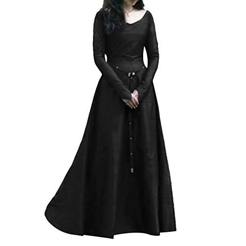 Retro Kleid für Damen Frauen Lange Ärmel Damenkostüme Vintage Mittelalter Renaissance Halloween Party Kostüm Kleider Große Größen