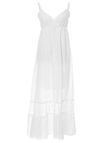 Anna-Kaci Frauen Einstellbare Träger Boho Spitze Weiß V-Ausschnitt Ärmellos lange Maxi Kleid (Sommer-weiße Maxi-kleider)