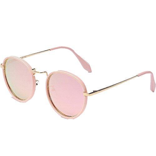 Yiph-Sunglass Sonnenbrillen Mode Exquisite kleine runde Frauen polarisierte Sonnenbrille uv-Schutz Fahren Sonnenbrille im freien Sonnenbrille für Strandurlaub (Farbe : Rosa)