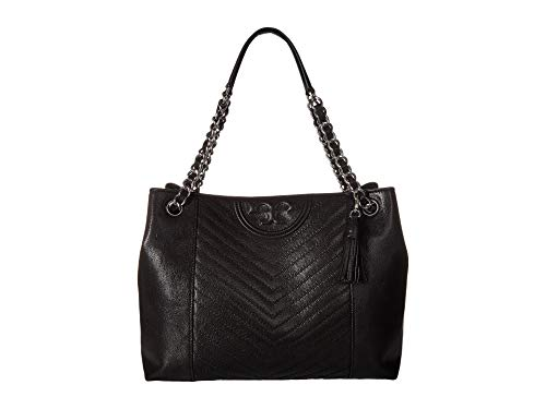 Tory Burch FLEMING BAG IN BLACK LEATHER, Damen, Taglia One Size.