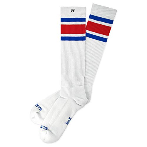 s Hi | Hohe Retro Socken mit Streifen | Weiß, Blau & Rot gestreift | kniehoch | stylische Unisex Kniestrümpfe Größe L (43-46) ()