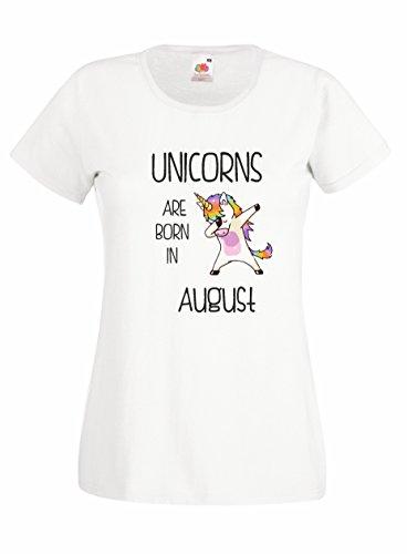 Settantallora - T-shirt Maglietta donna J2079 Unicorns Are Born In Agosto Bianco
