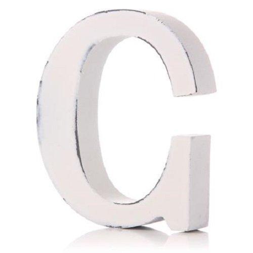 Shruti Weiß Holz Buchstaben Alphabet A-Z Hochzeit Home Name MR & MRS Baby freistehend Dekoration C (Chic Baby Shabby)