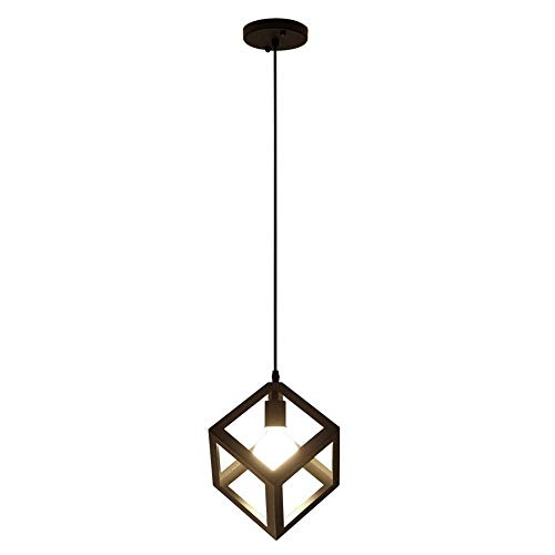 Metal Pendant Light, Rustic Chandelier Jintage Hanging Cage Globe Ceiling Light Fixture for Kitchen Island Dining Room Farmhouse Entryway Foyer Table Hallway E27 Base Black Metal - Antike Ei-korb