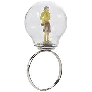 Glas Glühbirne Ring mit gelber Figur