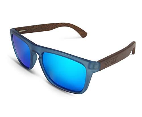TWO-X Sonnenbrille Wood blau blau WF Look Holz Bamboo verspiegelt polarisiert (Blau Polarisierten Sonnenbrillen)