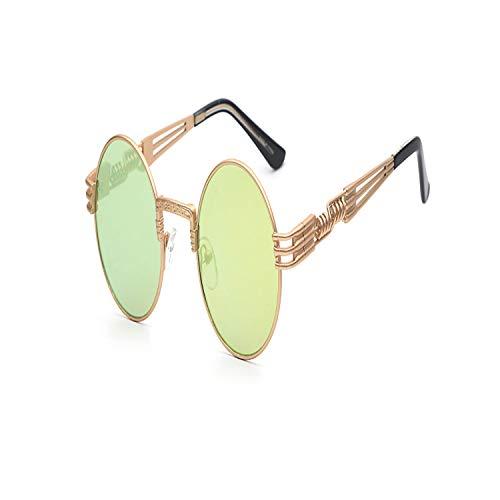 Sport-Sonnenbrillen, Vintage Sonnenbrillen, Gothic Steampunk Sunglasses Men Women Metal Wrapeyeglasses Round Shades Brand Designer Sun Glasses Spiegel High Quality UV400 Gold w lemon Spiegel