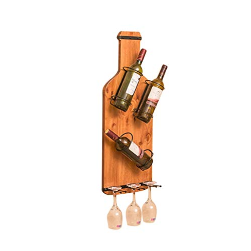 ZHAS Weinregal Wandhalterung Weinflaschenregal aus Kiefernholz | Regalhalter Weinhalter Hängender Weinkelch Regal Aufbewahrungseinheit Schwimmende Regalorganisator Arbeitsplatte für Restaurants, -