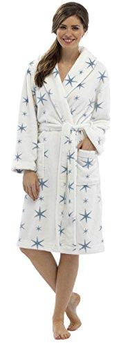 Mesdames imprimé Star en polaire chaud Peignoir Peignoir De Bain–Taille S/M–ln304 Multicolore - Cream/Blue