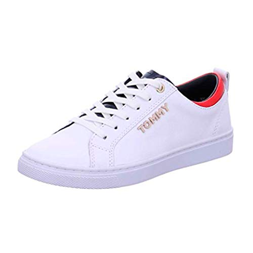 c6129db8a52 Tommy Hilfiger Women s Tommy City Leather Lace Up Sneaker White-White-7  Size 7