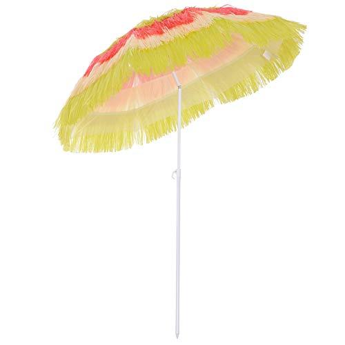 Homcom Parasol de Plage Jardin Design Hawai Multicouleur 160 cm