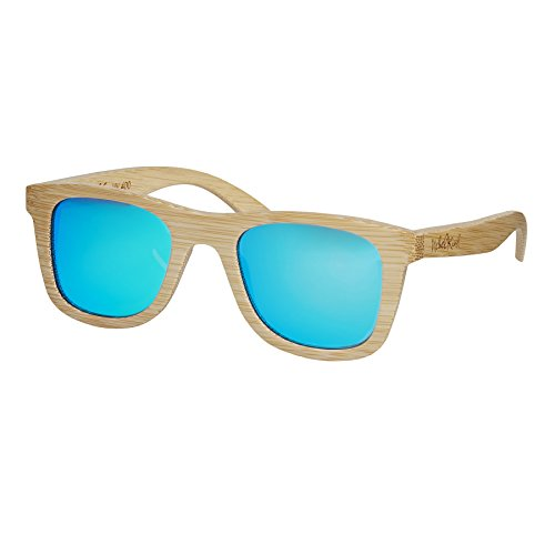 Nebelkind Unisex Bamboobastic Holz Sonnenbrille mit Bambus Etui Naturfarben Hellblau One Size