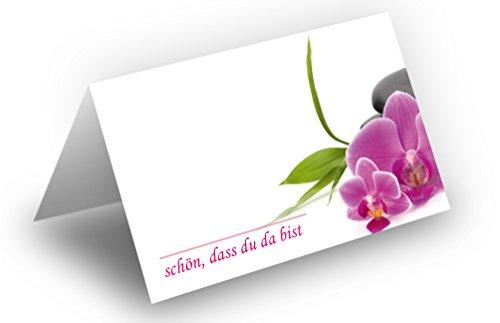 50 Tischkarten (Orchideen zartrosa) UV-Lack glänzend - für Hochzeit, Geburtstag, Taufe, Kommunion, Firmung, Jubiläum als liebevolle Tischdekoration!Format 8,5 x 11,2 cm