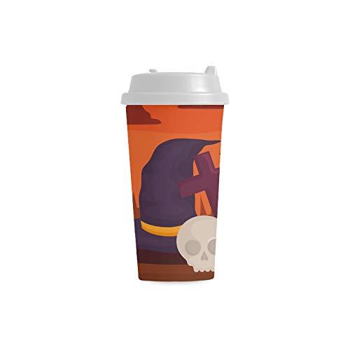 Hexe Hut Entwurfs Halloween kundenspezifischer personalisierter Druck 16 Unze Doppelwand Plastikisolierte Sport Wasser Flaschen Schalen Pendler Reise Kaffeetassen für Studenten Frauen Milch Teetasse