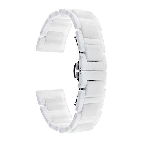 TRUMiRR 18mm Vollständige Keramik Uhrenarmband Schmetterling Buckle Strap für Huawei Uhr, ASUS Zenwatch 2 Damen 1.45 '', Withings Activite/Pop/Stahl HR 36mm, Fossil Q Tailor,Nokia Steel HR 36mm