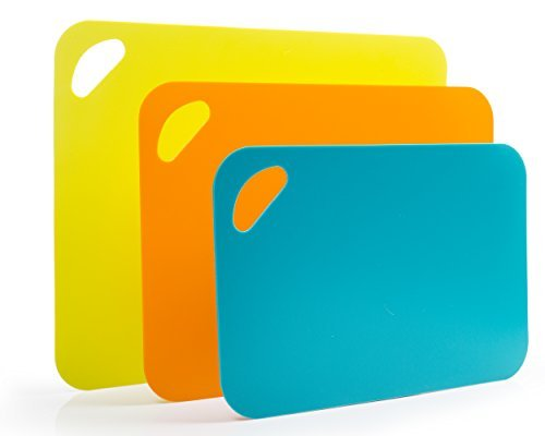Heavy Duty Thick Flexible Plastic Cutting Board Mat with Non-Slip Counter Grip, Set of 3 Unique Sizes and Colors by DeVeau Heavy-duty Cutting Board