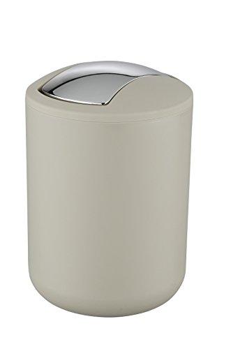 Wenko 21221100 Schwingdeckeleimer Brasil Taupe S - absolut bruchsicher, Fassungsvermögen 2 L, Thermoplastischer Kunststoff (TPE), 14 x 21 x 14 cm