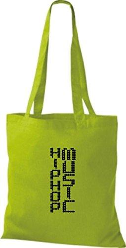 Sacchetto Di Stoffa In Tessuto Tascabile Borsa In Tessuto Di Cotone Musica Hip Hop, Vari Colori Verde Lime
