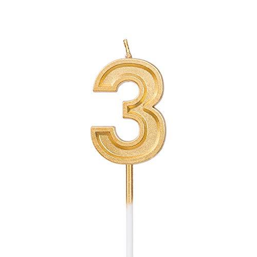 LUTER Gold Glitzer Geburtstagskerzen Kerzen Geburtstag Birthday Candles Zahlenkerze Zahl3 Kuchen Topper Dekoration für Party Kinder Erwachsene