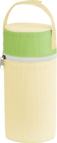 Rotho Babydesign Isolierbox mit Stoffbezug, Für Weithalsflaschen, 10,5 x 10,5 x 22,2 cm, Vanille/Lindgrün/Weiß, 300650223