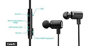 HAVIT HV-H927BT V4.1 Bluetooth Headset Kopfhörer, mit In-Line-Mikrofon für Apple iPhone und Android-Geräte, Schwarz