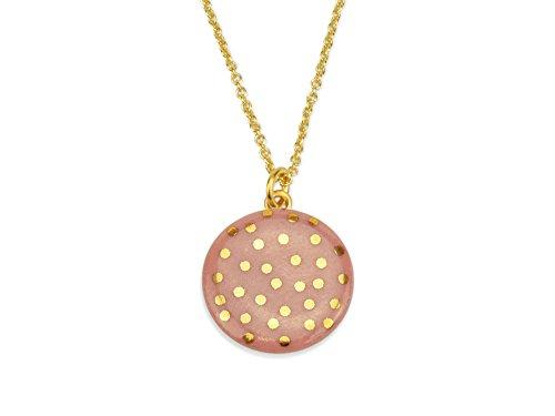 lille mus Halskette mit Porzellan-Anhänger Konfetti - Altrosa/Gold Porzellanschmuck Kette