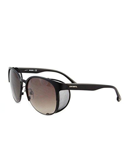 DIESEL Damen Sonnenbrille mit seitlichem Lichtschutz Schwarz mit braunen Gläsern DL0060/S 02F