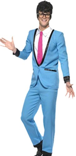 Karnevalsbud - Erwachsene Teddy Boy Kostüm, M, Blau