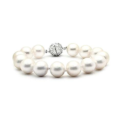 Bling Jewelry White Pearl simulé suite nuptiale 10mm Bracelet plaqué rhodium