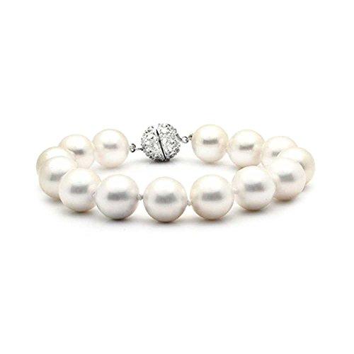 Bling Jewelry 925 Sterling Silver Shell bianco perla della CZ del braccialetto nuziale 10 (10 Millimetri Sintetico Perle)