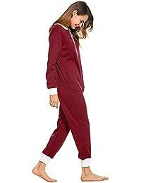 Schlafoverall Damen Lang Jumpsuit Reißverschluss Overall Kuschelig Onesie Einteiler Pyjama Set Schlafanzug Langarm Nachtwäsche Trainingsanzug Langarmshirt Strampleranzug für Frauen