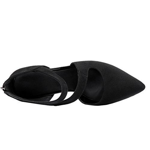 AIYOUMEI Damen Spitze Wildleder Pumps mit Reißverschluss Stiletto Elegant Abend Schuhe Schwarz