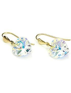 9K (375) Gold Kristall Heart Ohrringe - nördliches Polarlicht