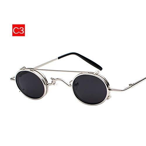 YJKHKL Kleine Runde Steampunk Sonnenbrille für Männer Retro Vintage Metal Punk Clip Auf Sonnenbrille Männliches Geschenk Kleine Ovale Brillen Uv400C3