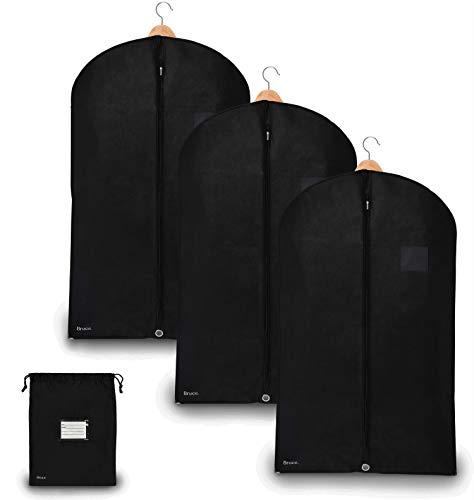 Bruce. ® 3 x Premium Kleidersack inkl. Schuhbeutel | 100 x 60 cm | Optimierte Materialstärke von 120 GSM | Hochwertige Kleiderhülle für Anzug und Kleid | Atmungsaktive Anzugtasche für Reisen