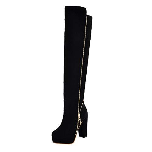 Botas para Mujer,Mujer Botas sobre la Rodilla Zapatos de Mujer Tacones Altos Botas Altas Moda Cuero Dedo del pie Elástico Tramo Grueso Casual Tacón Alto Botas Zapatos