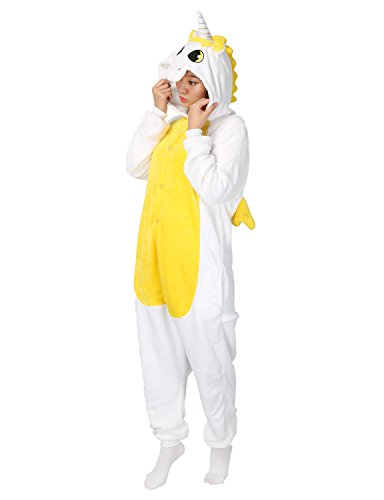 Pigiama unicorno cosplay intero unisex animale costume halloween carnevale tuta attrezzatura festa party sleepwear- mescara (l, yellow)