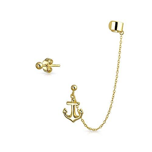 Bling Jewelry Vergoldet 925 Silber Anker verbunden Ohrringe ohr Manschette eingestellt
