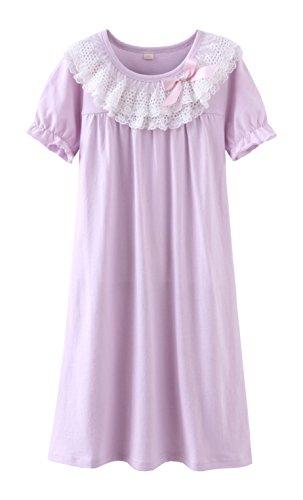 ABKleidung für 8-12 Jahre alte Mädchen Nachthemden Baby Mädchen Outfits Nachthemd Cotton Night Dress lila für 7-8 Jahre -